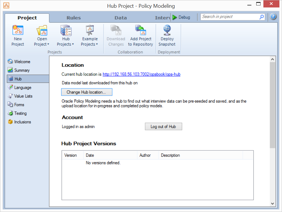 Installing Oracle Policy Automation Hub Self Study Platform Part Three