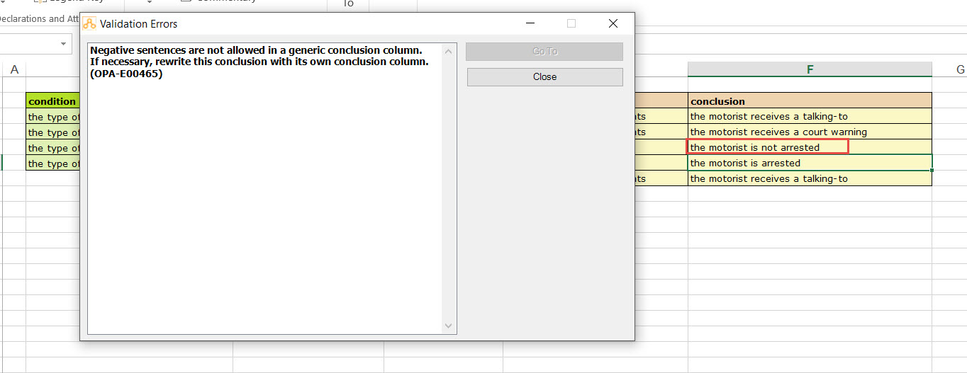 Conditions & Conclusions in Oracle Policy Automation Spreadsheets