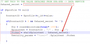 PHP Code of the Widget