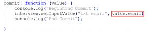 JavaScript Custom Search Commit