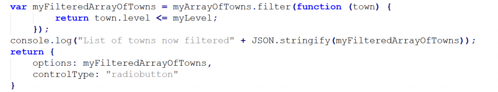 Oracle Policy Automation - JavaScript Custom Options - Code Return Array Filtered