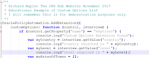 Oracle Policy Automation - JavaScript Custom Options - Code Introduction