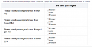 Back to Basics Fun with Relationships Selecting Passengers for Cars