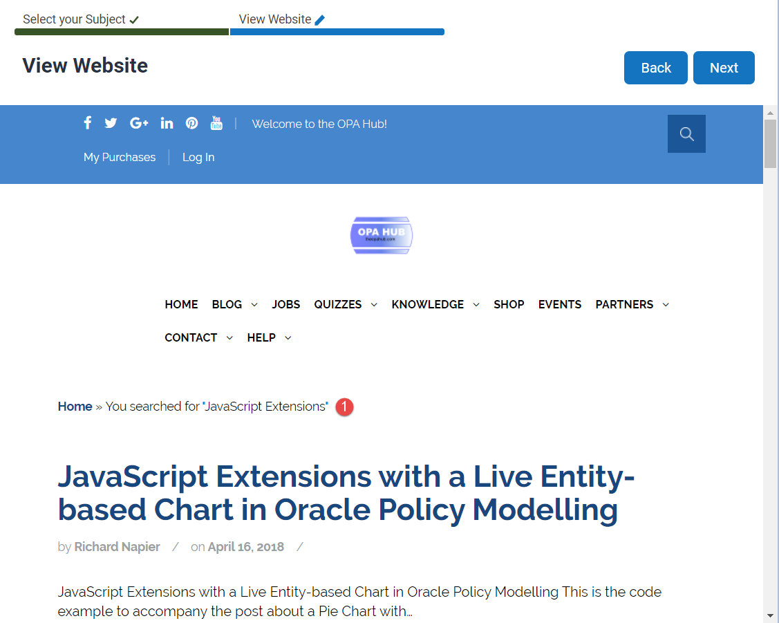 Oracle Policy Automation Embed Website in Interview