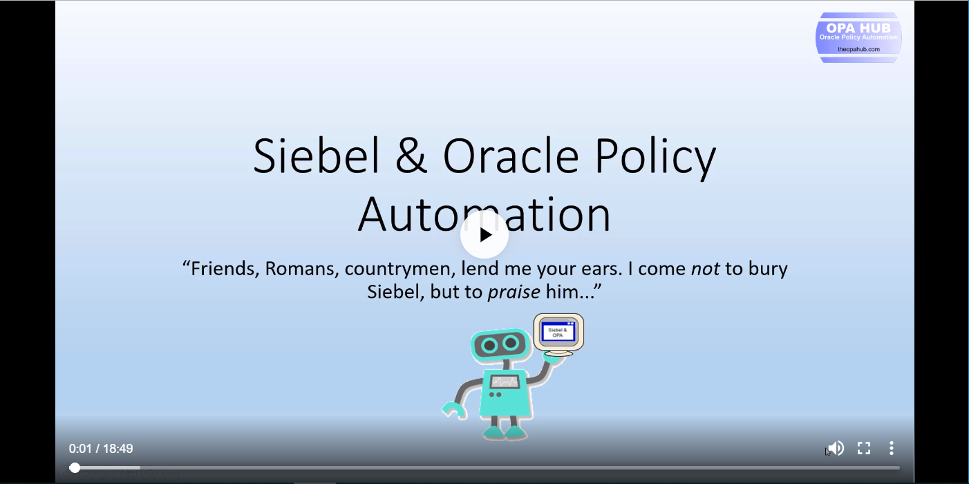Oracle Policy Automation and Siebel