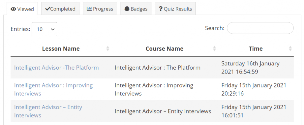 My Learning Profile Overview