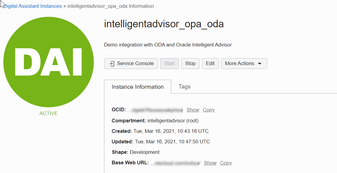 Oracle Digital Assistant and Intelligent Advisor- Service Console