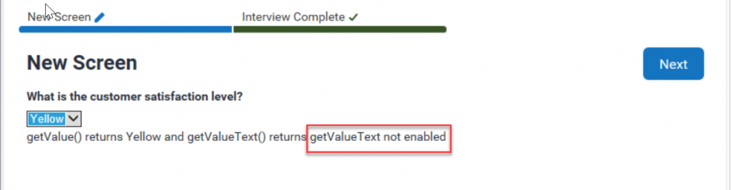getValueText() not enabled