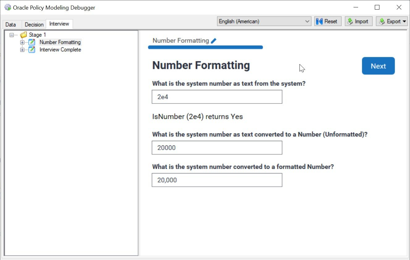 Number Format Snippets